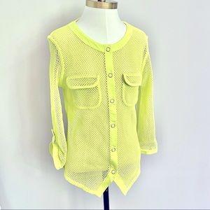 Reversible Neon Yellow Mesh Top / Light Jacket - S